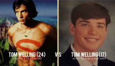 In Smallville , Tom Welling played a character 10 years younger than himself. Here's Tom's actual teenage yearbook photo.
