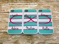 Infinity sign Best Friends Phone cases-CHOOSE your colors-Set of 2 or 3-Personalized Iphone 4/4s, 5/5s/5c - Samsung Galaxy, - Ipod-Design 28