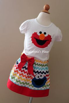 Adorable Sesame Street Elmo and Cookie Monster in Skirt and Shirt