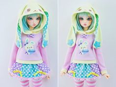 SD BJD Hoodie and Skirt - Feeple60 - Luts Delf - Dollfie Dream Sister - Yellow Bunny Kawaii Heart  This listing is for an SD 1/3 BJD Hoodie