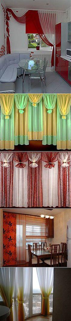 Las cortinas para la cocina - la variedad de las cortinas, los consejos a escoger. Modern Curtains, Drapes Curtains, Valances, Window Coverings, Window Treatments, Rideaux Design, Curtain Designs, Cuisines Design, Kitchen Curtains