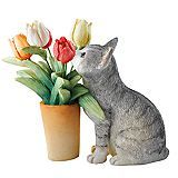 Country Artists Kittens Kitten with Tulips