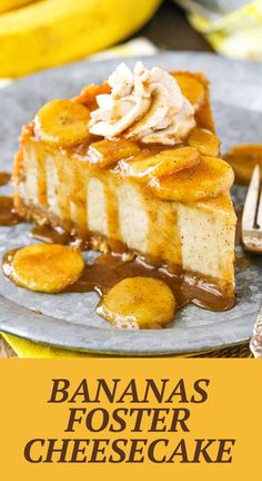 This Bananas Foster Cheesecake recipe is made with a thick and creamy banana brown sugar filling, cinnamon cookie crumb crust and bananas foster topping! It's a wonderful combination of bananas, cinnamon, brown sugar and rum that makes the most AMAZING cheesecake! Easy No Bake Desserts, Healthy Dessert Recipes, Delicious Desserts, Cold Desserts, Yummy Treats, Sweet Treats, Yummy Food, Banana Foster Cheesecake Recipe, Cheesecake Recipes