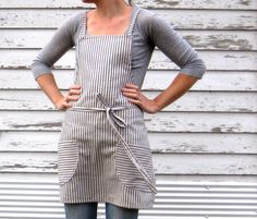 rustic full kitchen apron in blue pinstripe ticking with crossed straps