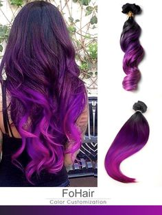 Black to Purple Mermaid Dip Dye Colorful Ombre Indian Remy Clip In Hair Extensions TC1030