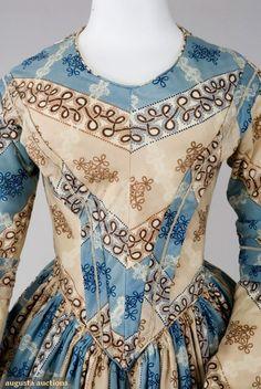 Augusta Auctions: BLUE & BROWN WOOL DRESS & PELERINE, 1840s