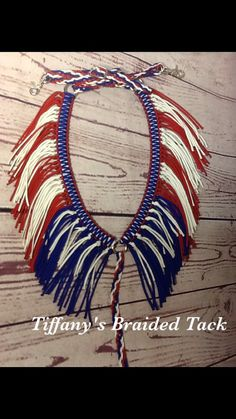 Patriotic fringe breast collar with wither by TiffanysBraidedTack