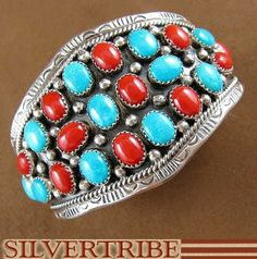 Navajo Indian Jewelry Turquoise Coral And Genuine Sterling Silver Cuff Bracelet HS31666