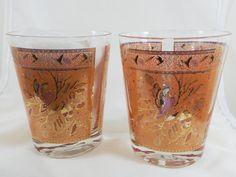 Rocks Cocktail Glasses (2) Stained Glass Pheasant Bird Design Mid Century Retro Mad Men Barware Textured Overlaid Gold