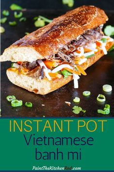 Instant Pot Banh Mi is a Vietnamese Pork Sandwich that has an explosion of flavors. This Asian sandwich is assembled on toasted French bread or baguette with pork, pickled vegetables, and fresh herbs. Bring the flavors of your favorite banh mi food truck or takeout to your kitchen with this easy recipe. #instantpot #banhmi #vietnamese #sandwich #asian #pork via @paintkitchenred