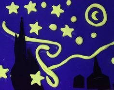 Starry Night Art project using glow in the dark playdough. What a wonderful idea.