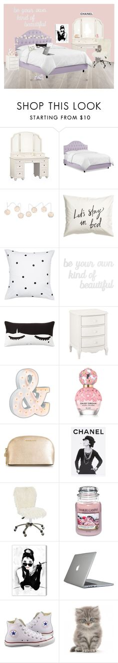 """""""Dream room inspired by Gabi Demartino (Niki and Gabi)"""" by lilypackard ❤ liked on Polyvore featuring PBteen, Kate Spade, Vintage Marquee Lights, Marc Jacobs, MICHAEL Michael Kors, Assouline Publishing, Yankee Candle, Oliver Gal Artist Co., Speck and Converse"""