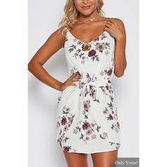 Yoins White Sexy Random Floral Print Camis Dress with Middle Waist (76 PLN) ❤ liked on Polyvore featuring dresses, white, floral dresses, white dress, floral camisole, white camisole and sleeveless floral dress
