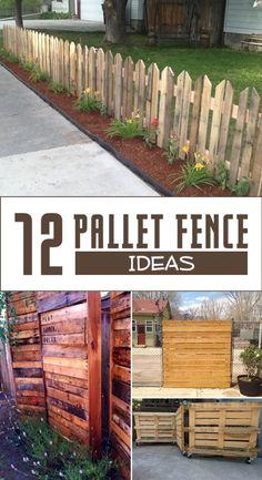 27 Cheap DIY Fence Ideas for Your Garden, Privacy, or Perimeter garden fence 30 DIY Cheap Fence Ideas for Your Garden, Privacy, or Perimeter Wooden Pallet Projects, Outdoor Projects, Garden Projects, Diy Projects, Building A Fence, Building With Pallets, Diy Fence, Fence Art, Front Yard Fence Ideas