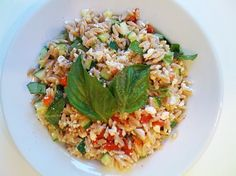 Healthy orzo pasta dish with fresh basil and vegetables. Great lunch box meal. Weight Watchers diet food. yum