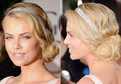 muito bonito penteado!!!!!!!! glamoroso com a tiara com brilhantes :)