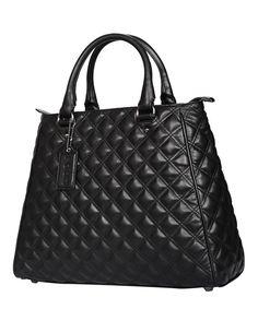 Black leather quilted grab bag Sale - Poon