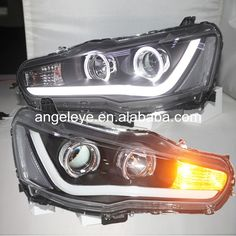 429.99$  Watch now - http://alimt3.worldwells.pw/go.php?t=32597990876 - 2008-2013 year For Mitsubishi For Lancer Exceed LED Angel Eyes Head lamp front light with Bi Xenon Projector Lens YZ 429.99$
