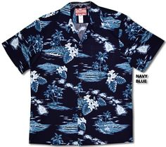 100% Cotton, RJC Brand , Best Quality Made in Hawaii. Hawaiian Islands Surf Men's R. J. Clancey Shirt with tropical inspirations created in Black, Navy Blue and Cream.  MauiShirts search box stock number: 102C-4031