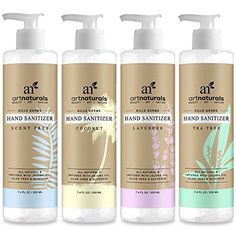 ArtNaturals Natural Hand Sanitizer Gel – x Oz) – Made with Essential Oils, Jojoba Oil, Aloe Vera and Glycerin Infused Formula - Set Includes Scent Free, Coconut, Lavender and Tea Tree Organic Tea Tree Oil, Organic Coconut Oil, Solution Hydro-alcoolique, Natural Hand Sanitizer, Lavender Tea, Organic Aloe Vera, All Natural Skin Care, Beauty Art, Jojoba Oil