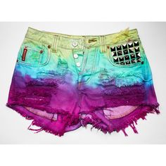rainbow tie dye Bongo vintage denim pyramid studs destroyed mid-rise... ❤ liked on Polyvore featuring shorts, distressed shorts, tie-dye shorts, rainbow shorts, vintage distressed shorts и torn shorts