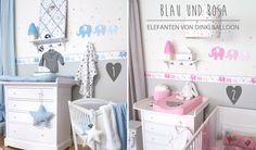 Babybordüren mit Elefanten in rosa & blau bei Fantasyroom online kaufen
