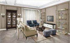 Эскиз гостиной в варианте Room Look Mode.