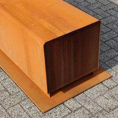 corten base with wood slats