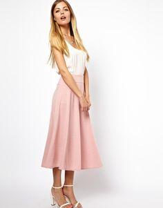 :: Ladylike - ASOS Midi Skirt with Stitch Waist Detail ::