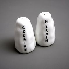 Salt + Pepper shakers. Artists' Books and Multiples: David Shrigley | HEROIN / COCAINE