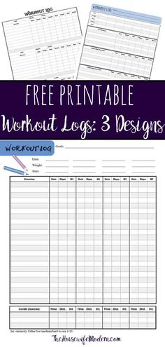 Free Printable Workout Logs: 3 Designs for Your Needs - 16 fitness Journal printable ideas Fitness Journal, Fitness Planner, Exercise Planner, Workout Journal, Workout Planner, Workout Log Printable, Tracker Free, Workout Schedule, Workout Challenge