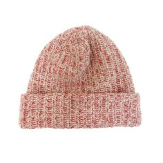 Knit Cap - Natural/ Red Heather