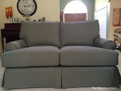 I used 12 oz. washed denim in a soft, greyish-green to slipcover this Quatrine loveseat.