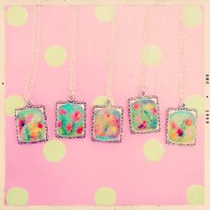 Little needle felted necklaces by Gillian Harris at Gilliangladrag #felt #felting #feltmaking #wool #wooltops #courses #classes #workshops #classes #necklaces #jewellery #pink #polkadots
