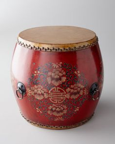 """Vintage Wood and leather Drum as a side table, Red  Handcrafted of wood and leather, with a New hand-painted lacquer; From the Shanxi region of China; c.1930-1950. Size varies from 15.5""""Dia. x 15""""T to 16.5""""Dia. x 16""""T."""