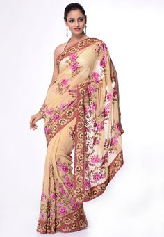 Light Beige Faux #Georgette #Saree With #Blouse @ $102.00