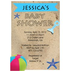 baby shower beach theme invitation | Beach Baby Shower Invitations