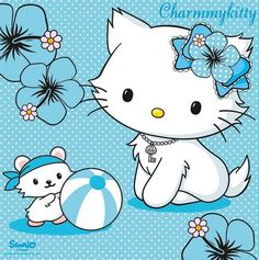 Blue fun Charmmy Kitty and Sugar Hello Kitty Drawing, Hello Kitty Art, Hello Kitty Nails, Hello Kitty Pictures, Kawaii Room, Red Nail Designs, Japanese Nail Art, Anime Cat, Sanrio Characters