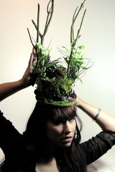 Magical Fairy Land Mini Top Hat. Made with real moss.