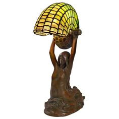 """Tiffany Studios New York """"Nautilus"""" Table Lamp with Gudebrod """"Mermaid"""" Base 
