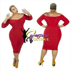 ● □ NEW ARRIVAL ● □   RED  OFF DAY BODY-CON DRESS   ( ( MODEL WEARING 1X ) )    SIZE :  1X  2X  3X    COLORS :  BLACK  PURPLE  RED    WWW.CURVACEOUSBOUTIQUE.COM & IN STORE   { { VISIT THE WEBSITE FOR ALL DETAILS & PRICE } }