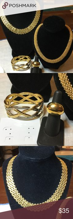 Goldtone new jewelry lot All items are new and have never been worn..2- necklaces, clamp bracelet and ring Macys Jewelry