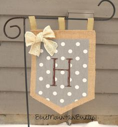 Burlap Polka Dots Garden Flag with Initial by BlueMountainBurlap, $22.00, polka dot yard flag, polkadots garden flag, neutral garden flag