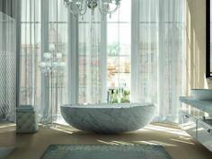 Vasca da bagno asimmetrica centro stanza ovale Collezione I bordi by TEUCO GUZZINI