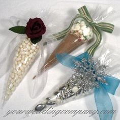 These clear, cone cellophane bags are great for holding cocoa and marshmallows, dip mixes, baking mixes, muffin mixes, nuts, candy, etc.  Each cone comfortably holds about 1-1/2 cups but you can also cut the bags down to whatever size you need. http://www.yourweddingcomapny.com