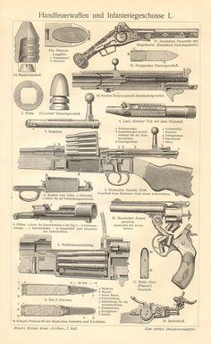 Vintage doble grabado de repetir partes del rifle, revólveres, rifles, balas.  El tamaño de la impresión: 9.6 x 6,3 (24,5 x 16 cm) incluyendo su frontera. Impreso en 1908, bibliográfico Institut Leipzig, Alemania, como una ilustración para la 7ª edición de Meyers Konversations Lexikon.  La impresión es en buen estado, se muestra su edad con pátina cremosa, perfecta para enmarcar.  En cuanto a la edad del papel - cca. 105 años - algunos puntos pueden ser ocurrió en el margen y la parte de…