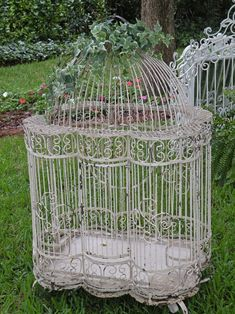 white shabby chic birdcage - would make a beautiful planter!