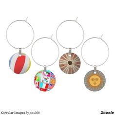 Circular Images Wine Glass Charms