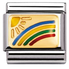 Composable Classic Link Rainbow in Gold - Nomination Nomination Bracelet, Nomination Charms, Gift Packaging, Girls Best Friend, Spice Things Up, Color Pop, Colour, 18k Gold, Bracelet Watch