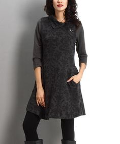 Another great find on #zulily! Charcoal Damask Side Button Dress #zulilyfinds